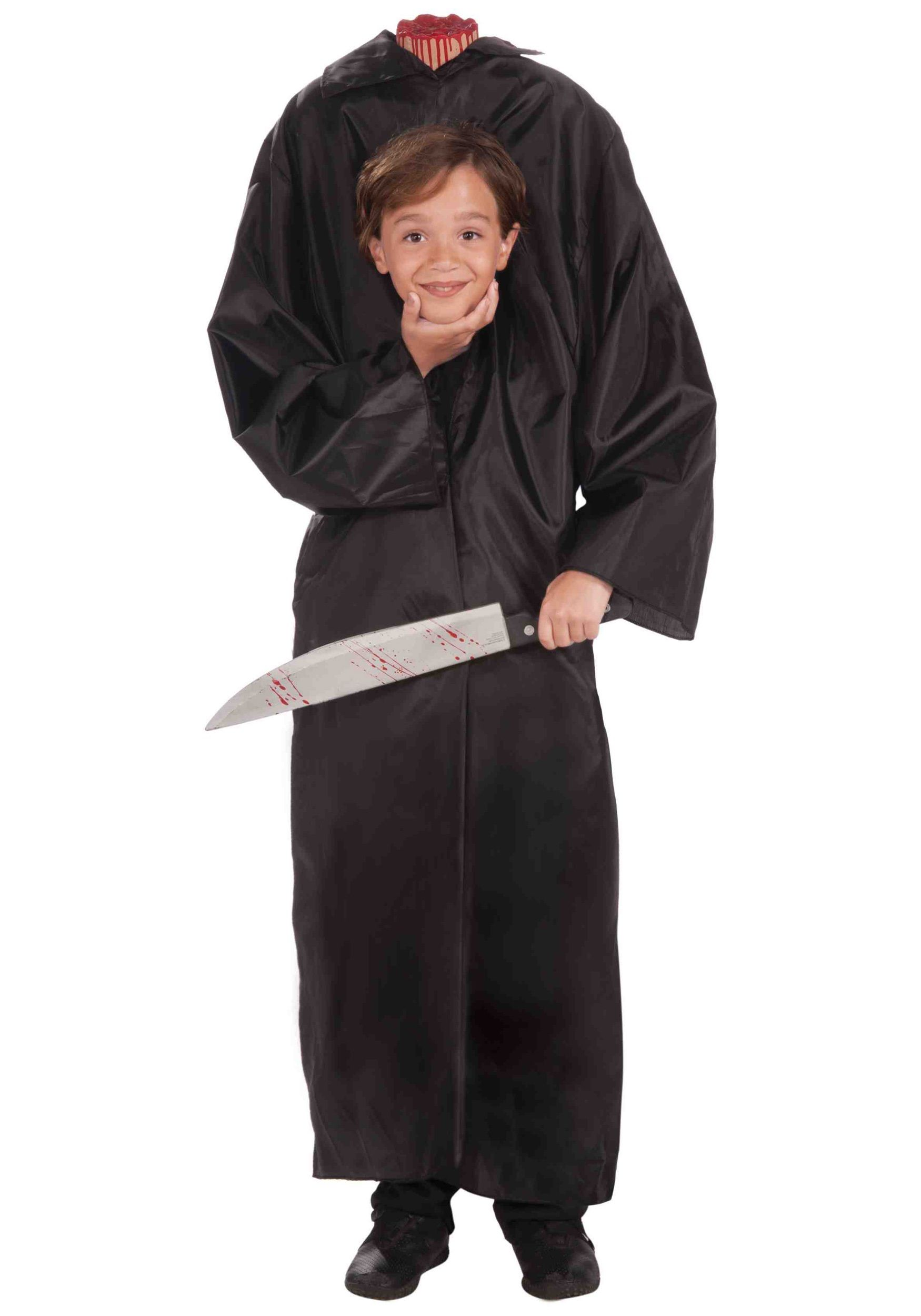 it looks like some one got a little too overzealous with that machete this child headless boy costume is a scary costume for kids to wear