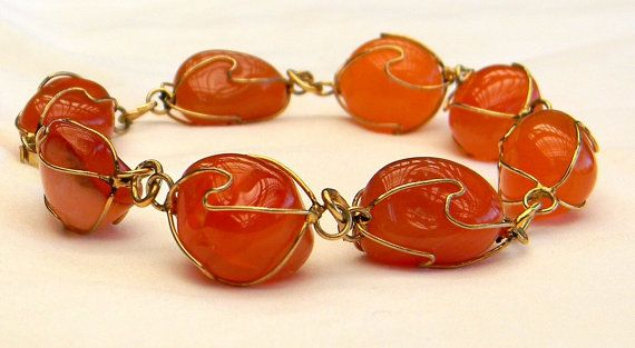Vintage 1960s Tumbled Polished Carnelian Wire Wrapped Link Bracelet /50