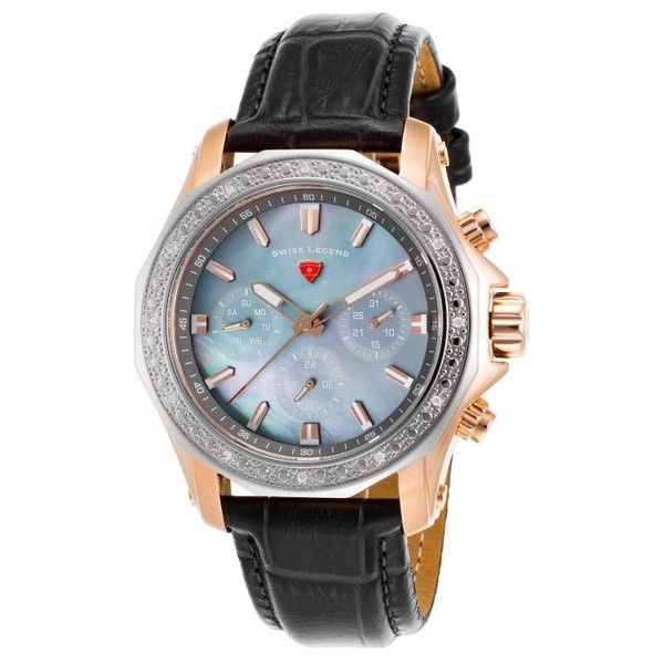 Swiss Legend Islander Grey Genuine Leather MOP Dial ($180) ❤ liked on Polyvore featuring jewelry, watches, grey, grey jewelry, bezel watches, crown jewelry, water resistant watches and iridescent jewelry