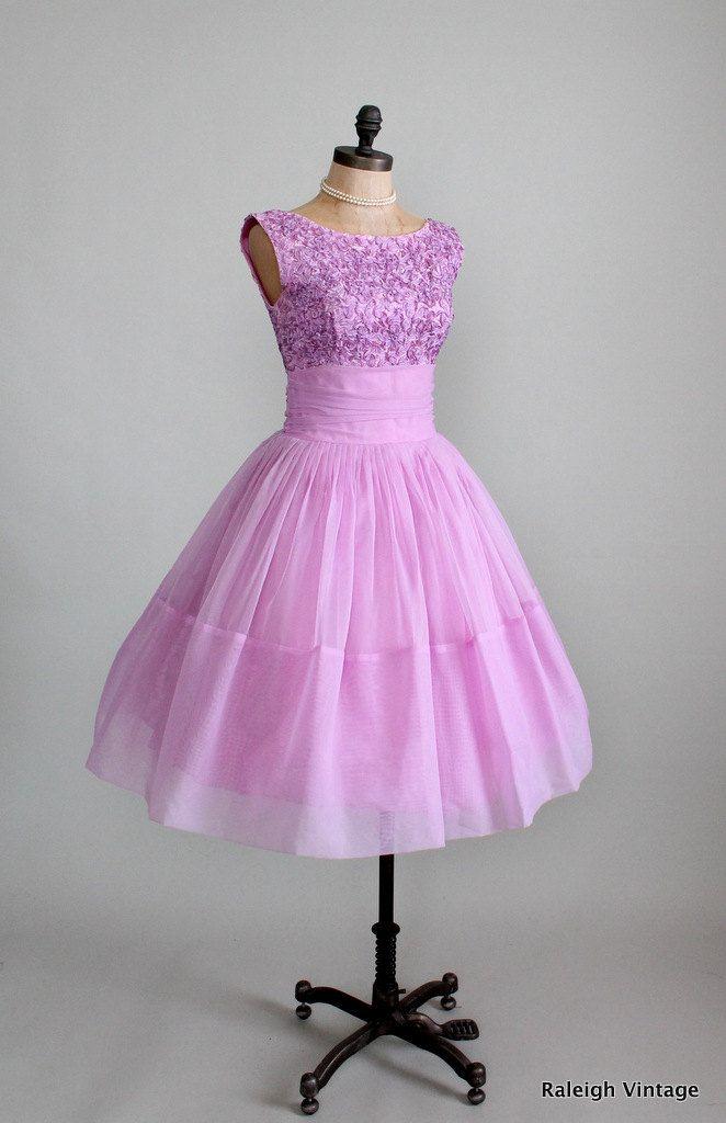 Vintage 1950s Lilac Ribbon Chiffon Prom Dress. | <> raleigh vintage ...