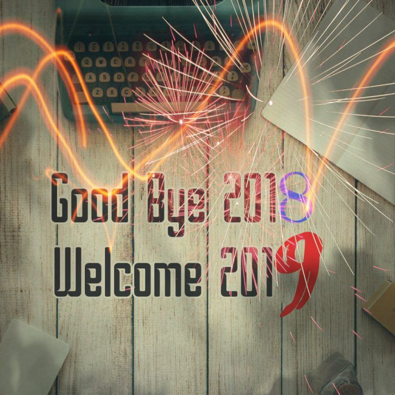Goodbye 2018 to 2019 New Year Feliz año nuevo