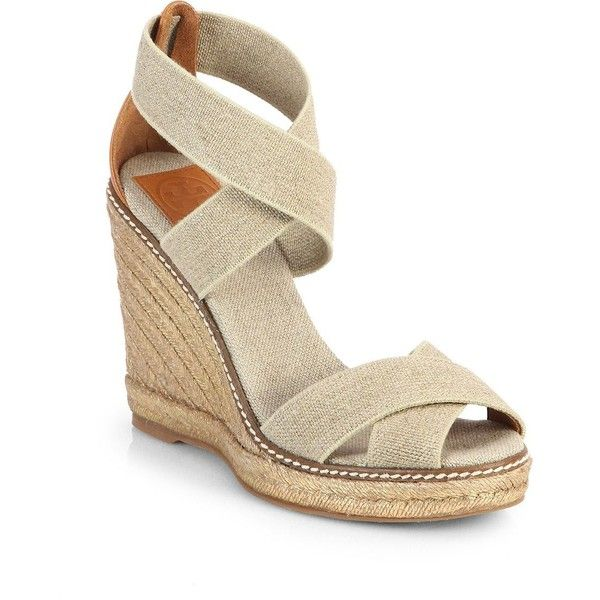 Tory Burch Adonis Crisscross Espadrille Wedge Sandals ($68) ❤ liked on  Polyvore featuring shoes