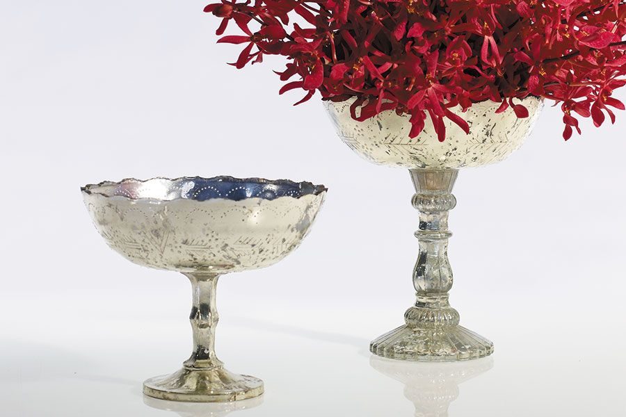 Decorative Colored Glass Bowls Extraordinary I Love These Urn Styled Mercury Glass Vasesaccent Decor Inspiration Design