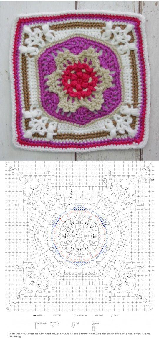 Crocheting ✿⊱╮ | patrones ganchillo | Pinterest | Cuadrados ...