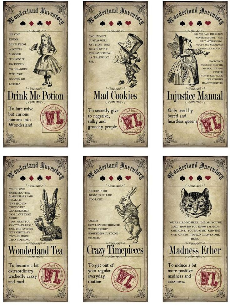 Alice in wonderland 6 bottle label stickers apothecary labels party favor