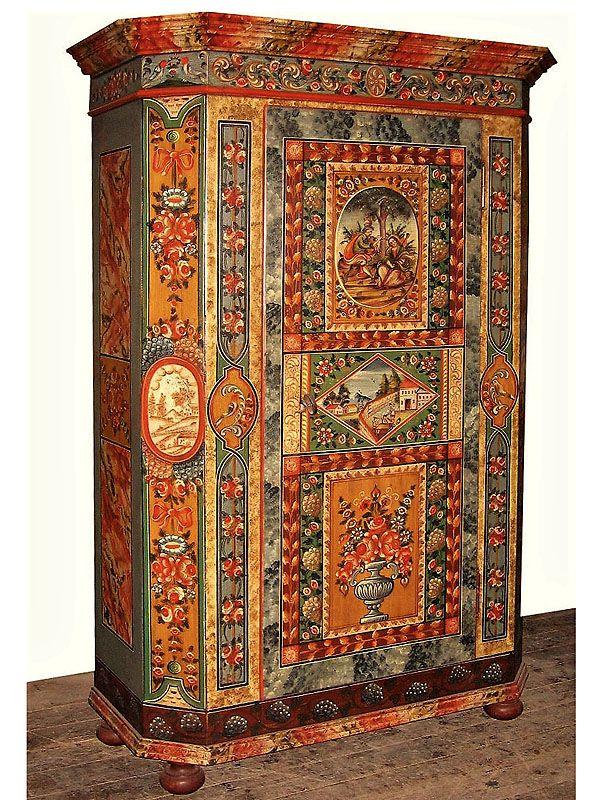 Bemalter Bauernschrank Bauernschrank Bauernmalerei Antike Mobel