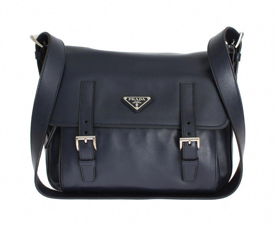 a4e72b83a9441d #Designerhandbags Blue Handbags, Prada Saffiano, Black Leather Satchel,  Leather Satchel Handbags,