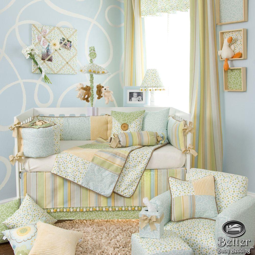 Glenna Jean Baby Boy Light Blue Yellow Green Crib Nursery Bed Quilt Bedding Set