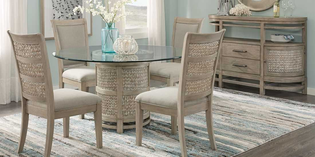 Cindy Crawford Home Golden Isles Gray 5 Pc Round Dining Room Rooms To Go Round Dining Room Chic Dining Room Coastal Dining Room