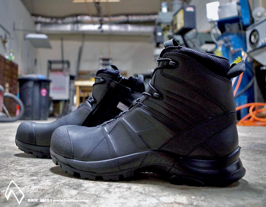HAIX Black Eagle Safety 55 Mid Side Zip Ems boots, Black