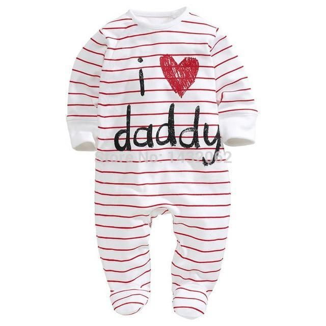 AOMOMO Unisex-Baby Newborn I Love Mummy I Love Daddy Bodysuit 2 Pack