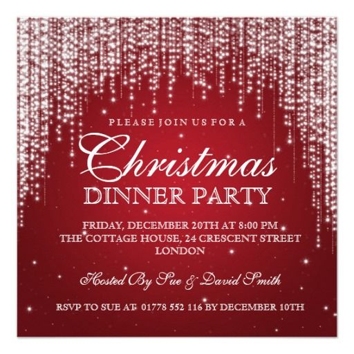 Elegant Dazzle Christmas Holiday Party Red Card Christmas holidays