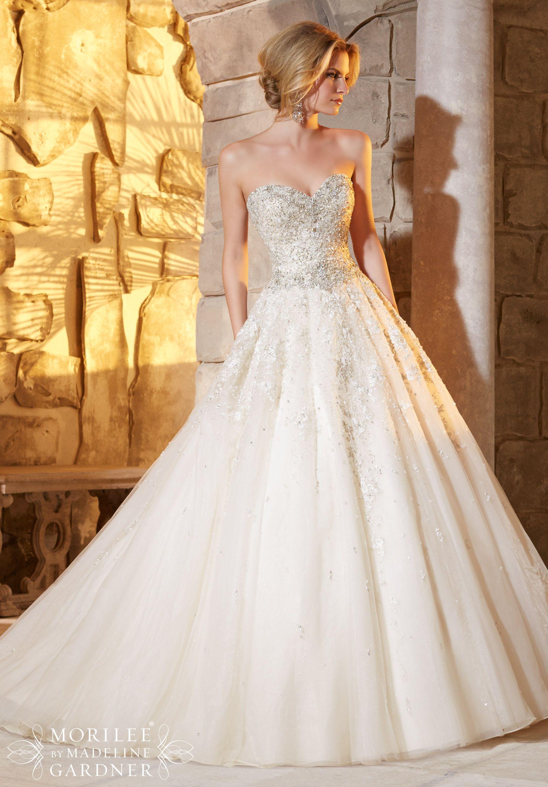 wedding dress 2791 and diamante beading decorates the