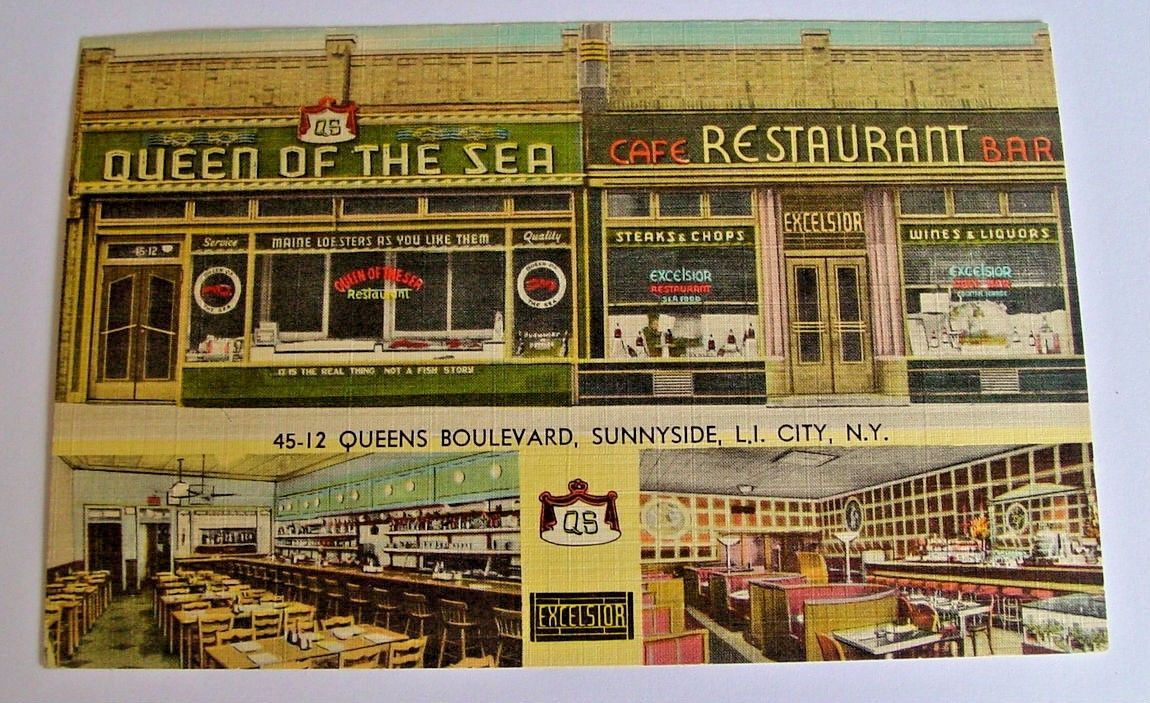 Old Postcard Queen Of The Sea Restaurant Sunnyside Queens Blvd N Y Ebay Sunnyside Old Postcards Boston Public Library