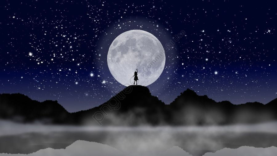 Girl And Moon Night Sky Illustration Girl Moon Reflection Illustration Image On Pngtree Free Download On Pngtree Night Skies Background Illustration