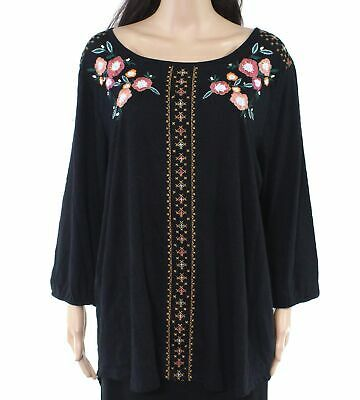 (eBay Ad) Style & Co Women's Top Black Size 2X Plus Floral Embroidered Scoop Neck $49 #078