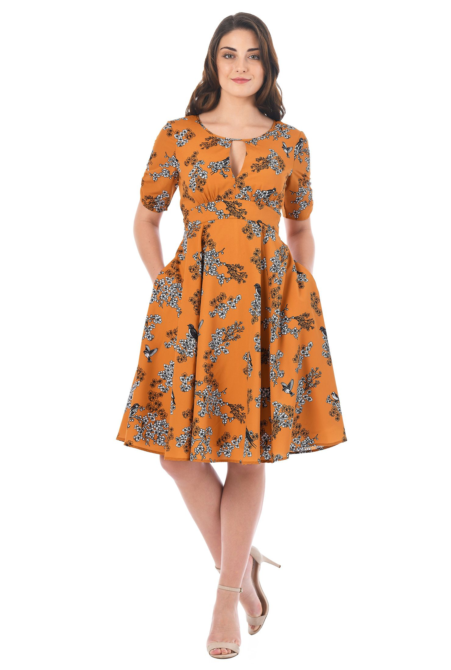 b2cf7be771d1 Bird with floral branch print patterns our soft crepe dress