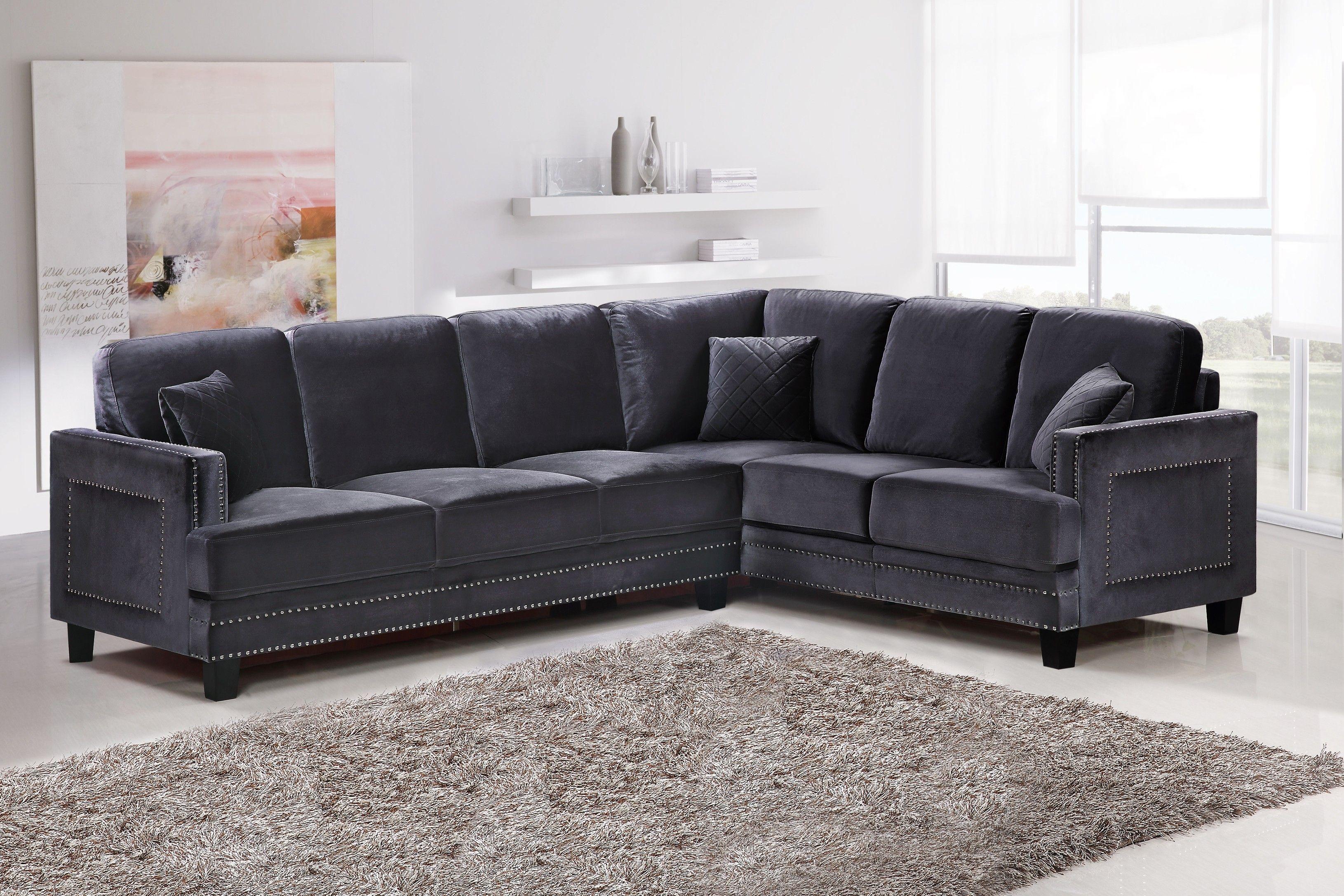Meridian Ferrara Grey Velvet 2 Piece Sectional Sofa Reviews