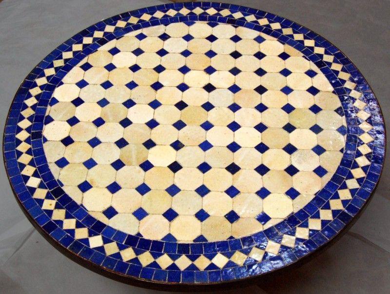 Table Ronde En Zellige Motif Tagra Mosaic Mosaic Tiles Mosaic