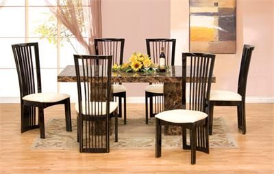 7pc Maegan 65 Round Brown Cherry Table Set Marble Dining Table