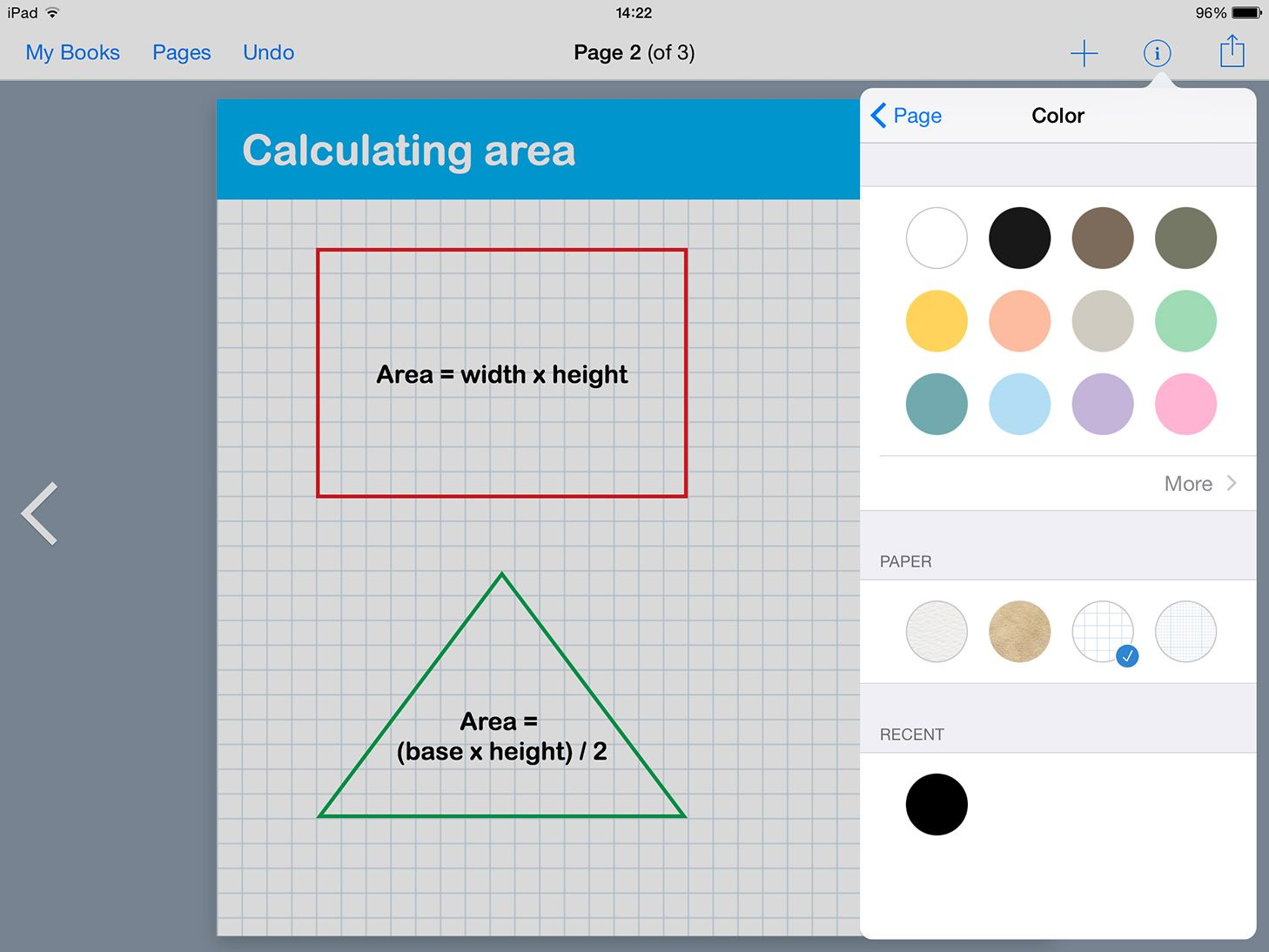 new graph paper backgrounds and shapes in book creator app ibooks