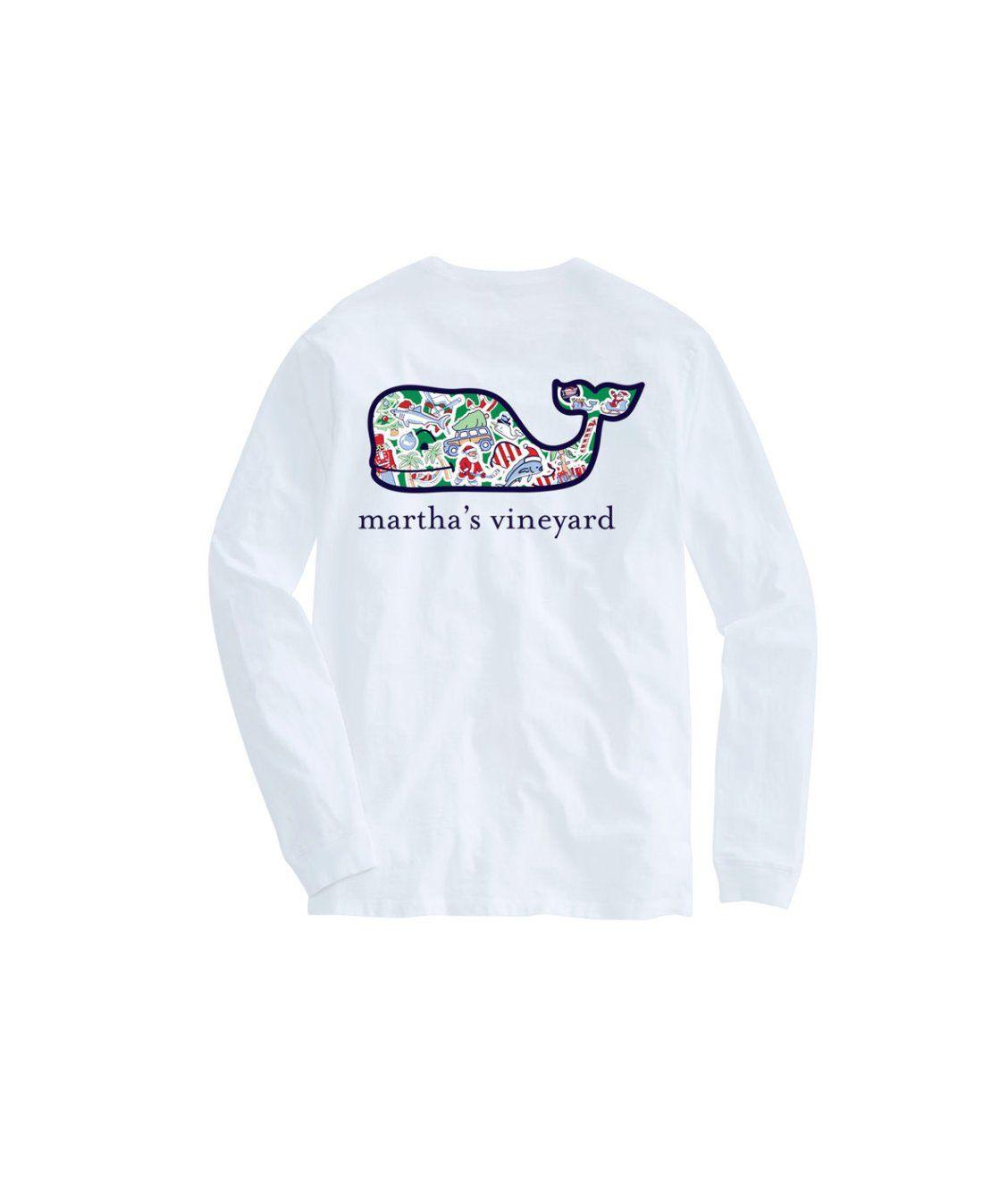 Vineyard Vines Christmas Shirt 2019.Martha S Vineyard Long Sleeve Whale Christmas Icon T Shirt