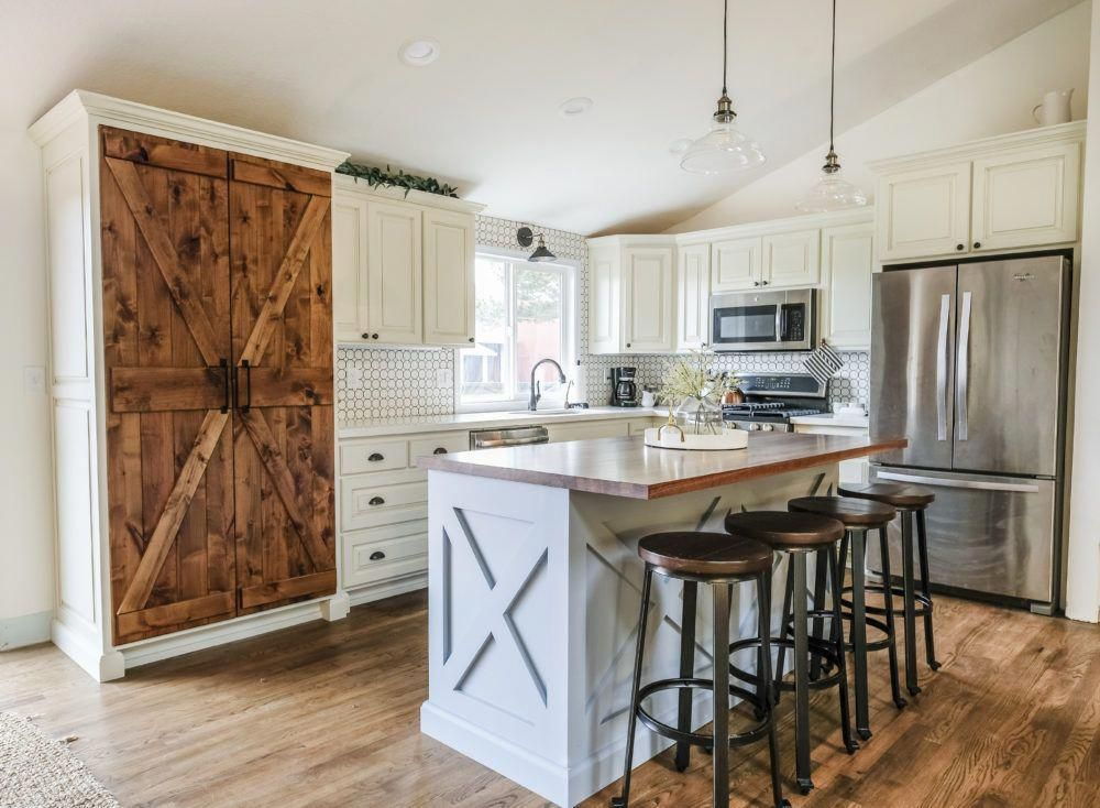 farmhouse kitchen on a budget with white cabinets and blue kitchen island on farmhouse kitchen on a budget id=76052