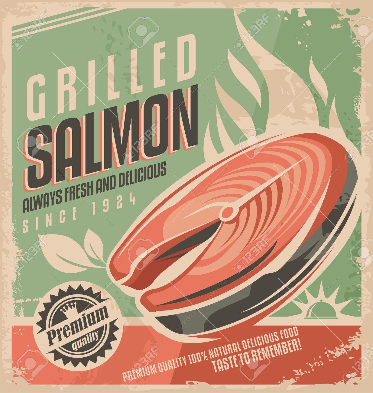 Design poster retro - 43847007 Grilled Salmon Retro Poster Design Stock Vector