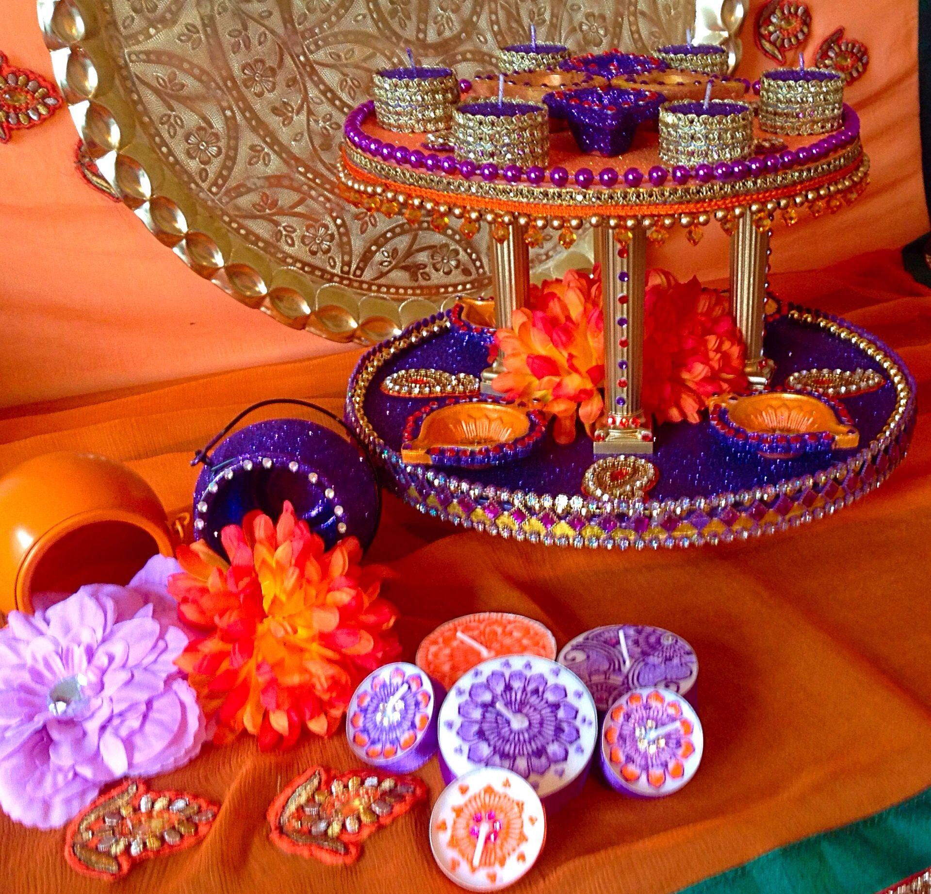Mehndi Plates Decoration Ideas 2018 : Beautiful double tiered mehndi plate vibrant orange and