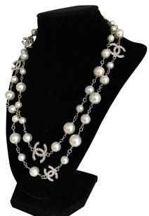 7fb9181d83c719 Chanel NEW Classic Pearl w 5 CC Logo Dual Sided Crystal LONG Necklace
