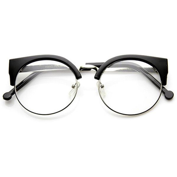 096d4d9bc4 Indie Hipster Round Cat Eye Clear Lens Half Frame Glasses ( 14) ❤ liked on  Polyvore featuring accessories