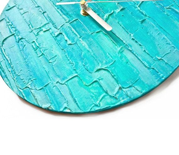 Turquoise Blue Unique Wall Clock Modern Designer Handmade Office