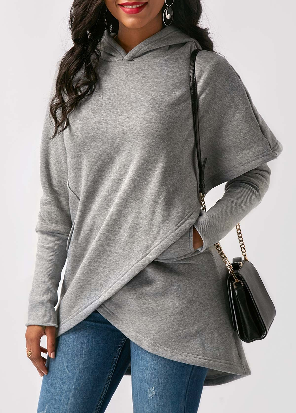 Women HOT Long Sleeve Hooded Asymmetric Hem Wrap Hoodie Irregular Pocket Vest