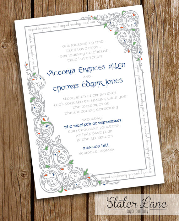Lord Of The Rings Wedding Invitation Diy Printable Lotr Elvish Frame And Vines Blue Green Pinterest