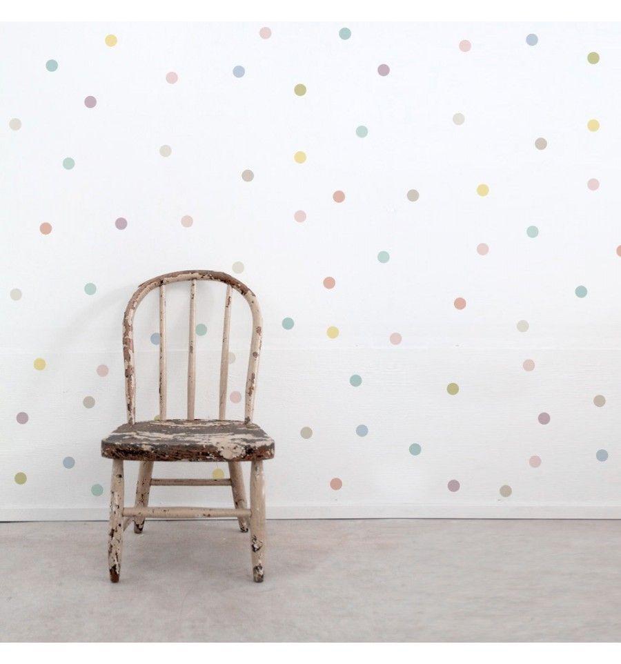 Vinilos infantiles topos colores pastel deco baby room for Decoracion paredes habitacion bebe nina