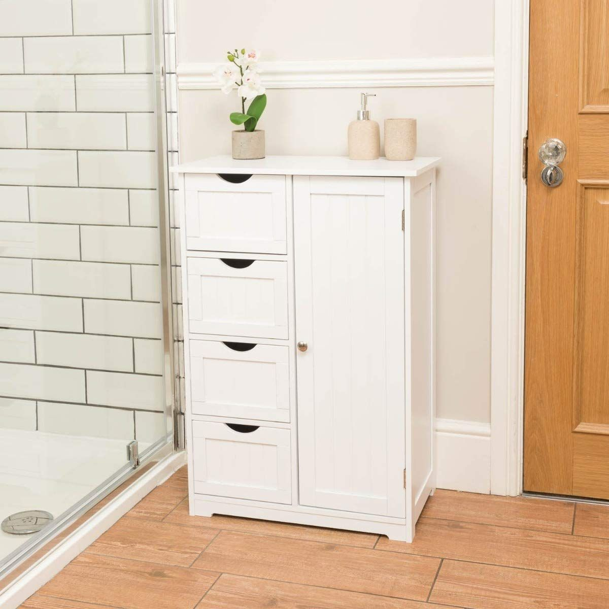 Christow White Wooden Bathroom Storage Cabinet 1 Door 4 Drawer Cupboard Freestanding Sing Bathroom Furniture Storage Cupboard Storage Clever Bathroom Storage