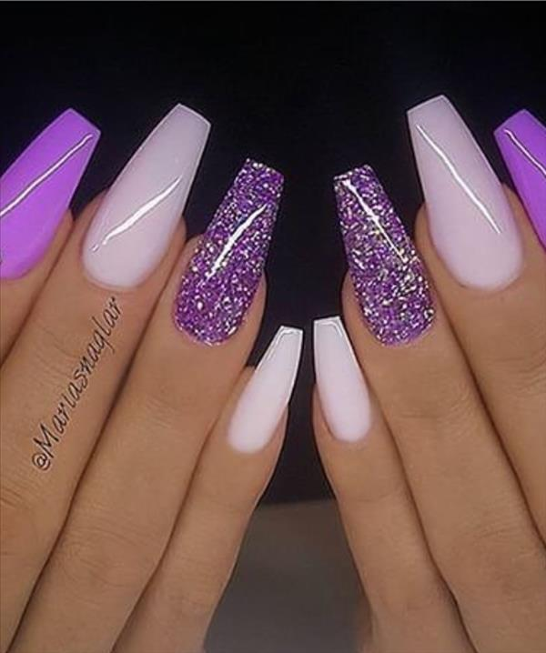 20 Lavender Coffin Nails Design For Acrylic Nails 2020 Latest Fashion Trends For Woman In 2020 Purple Acrylic Nails Coffin Nails Designs Purple Nails