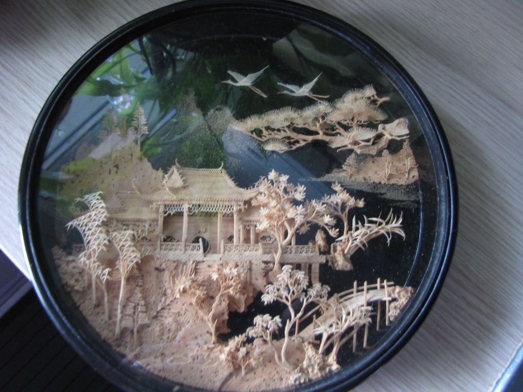 Vintage Intricate Chinese Cork Carving, Stunningly