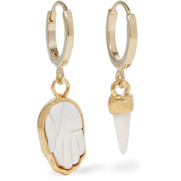 f19199f43d Isabel Marant Gold-tone bone earrings (105 CAD) ❤ liked on Polyvore  featuring jewelry, earrings, gold, hamsa hand charm, brass charms, brass  earrings, ...