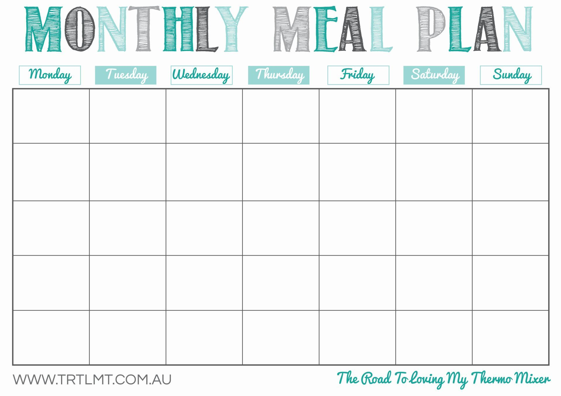 picture about Monthly Planning Calendar referred to as Printable Month-to-month Evening meal Planner small business inside of 2019