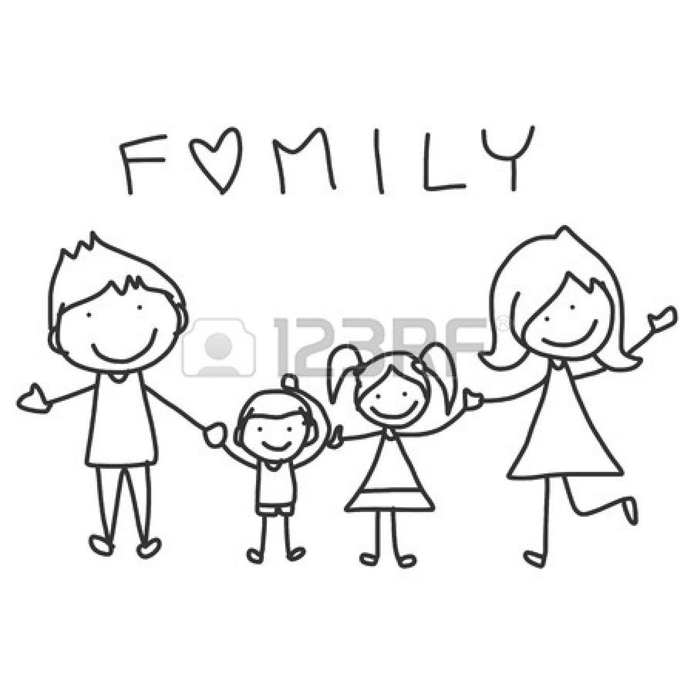 Disegno a mano cartone animato della famiglia felice vita