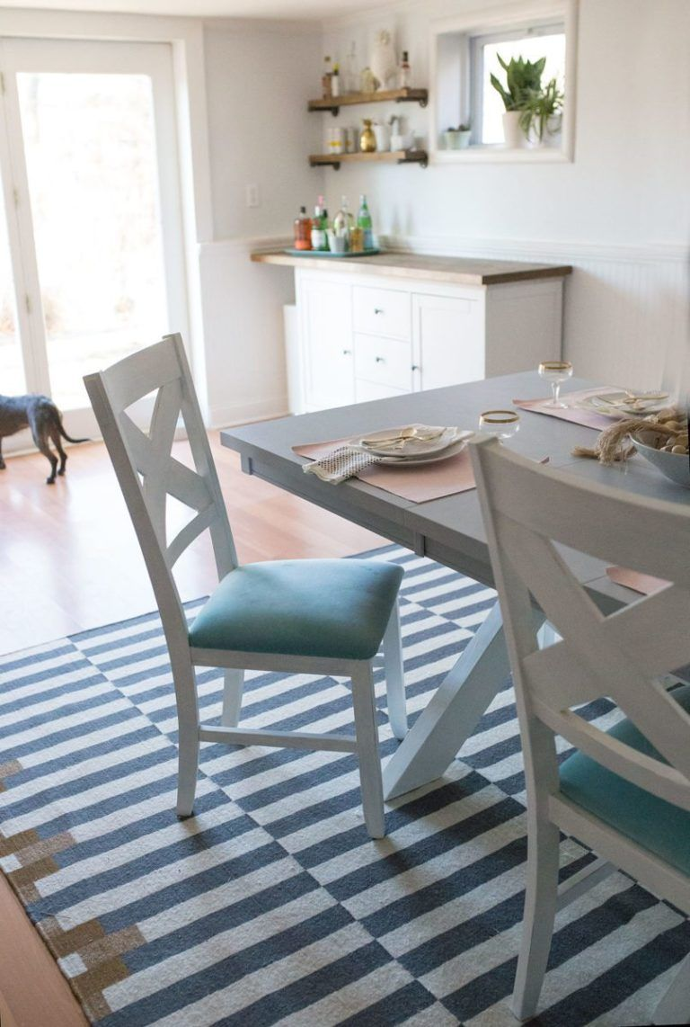 Before and after diy chalk paint dining table and chairs