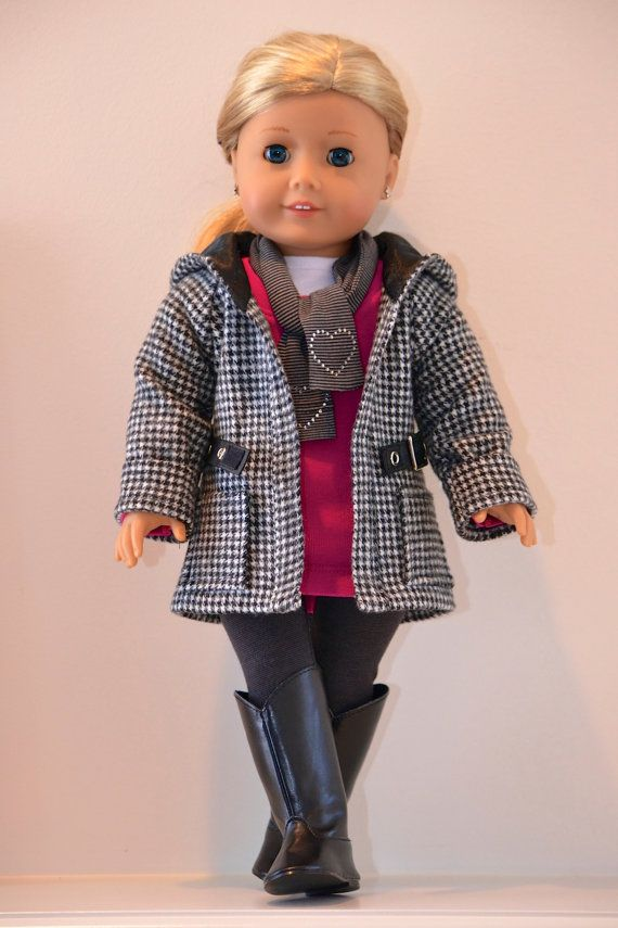 18 inch, American Girl Doll Clothing. Active wear Ensemble. T-shirt, tunic, leggings, jacket, scarf #girldollclothes