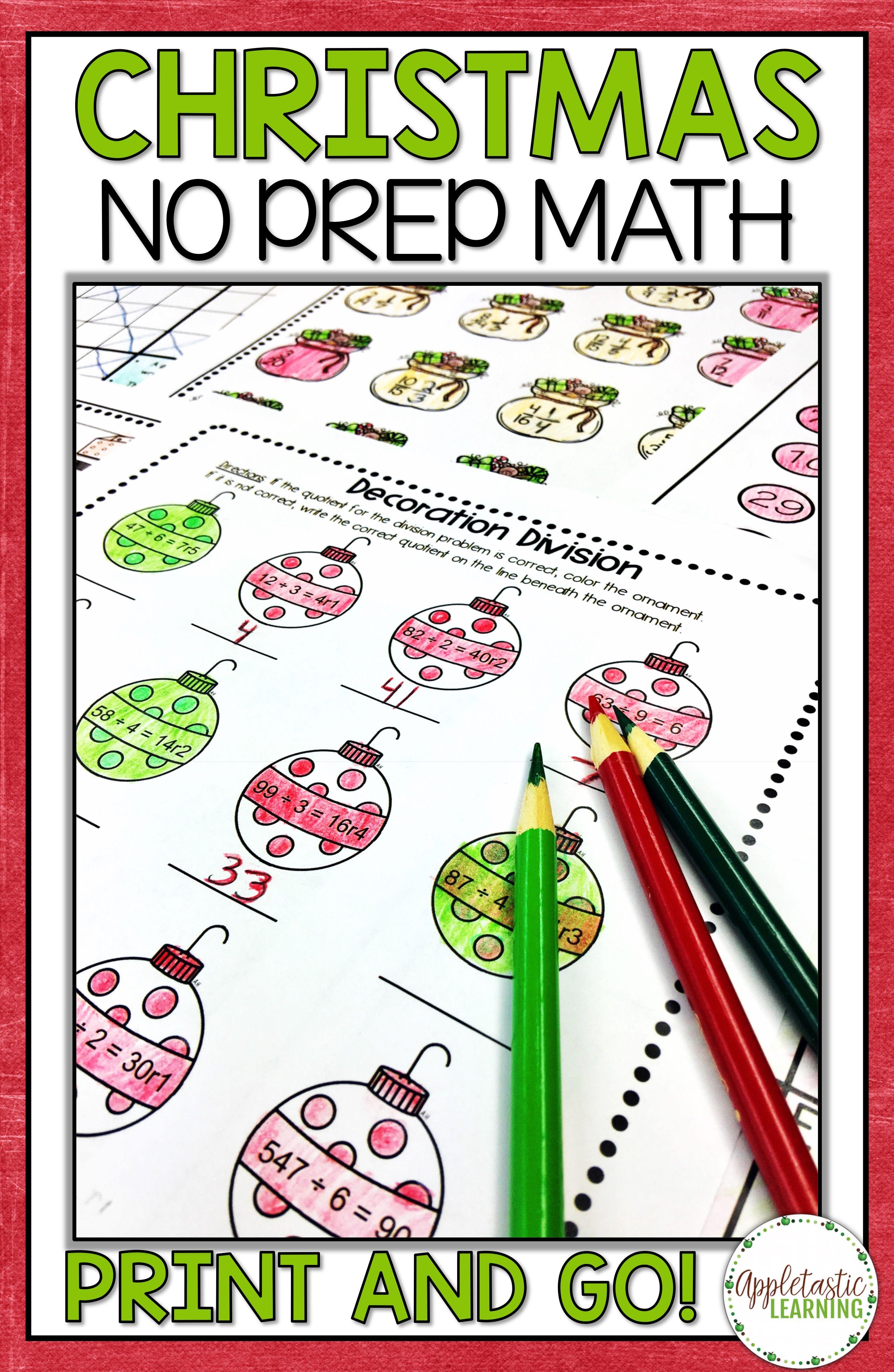 Christmas Math Print and Go Packet | Christmas maths, Math ...