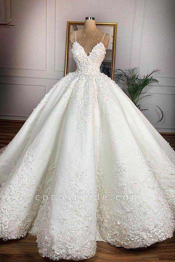 Spaghetti Strap Appliques Satin Wedding Dress