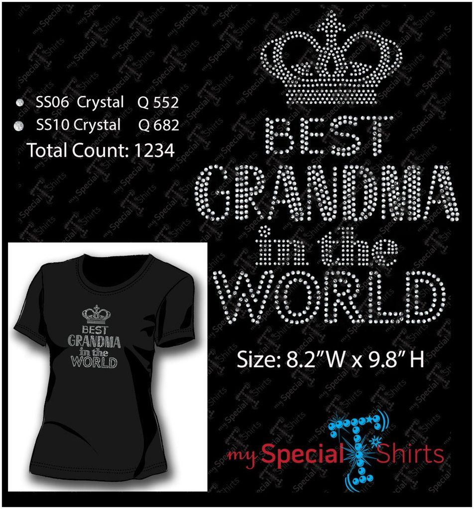 Best Grandma In The World Rhinestone Design MST
