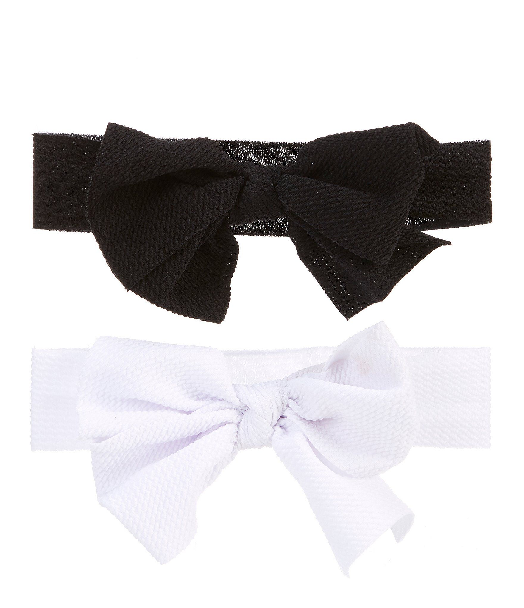 Photo of Starting Out Baby Girls 2-Pack Waffle-Knit Bow Headwraps – Black/White N/A