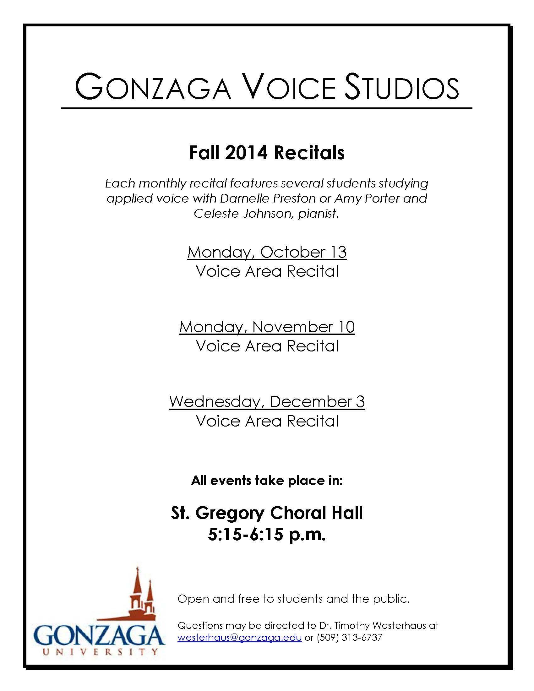 Voice Recitals this Fall Semester