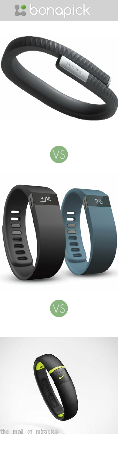 Wrist bands, Nike FuelBand vs Up by Jawbone vs Fitbit Force at Bonapick.com