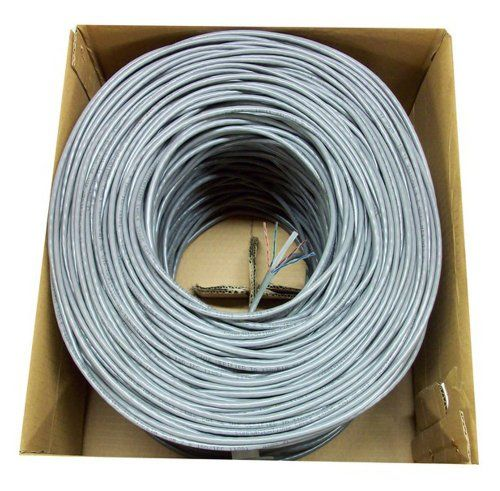 Pull Box UTP Cat-6e CCA Network Wire Grey 1000FT Cat6e LAN Ethernet Cable